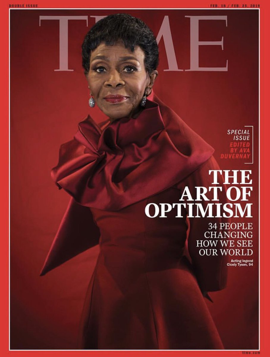 On line tonight & on stands tomorrow #TIME. One of my heroes, the iconic Ms. Cicely Tyson, edited by the brilliant @Ava Duvernay. Different generations but both #Giants in their own right! #trailblazers #inspiration