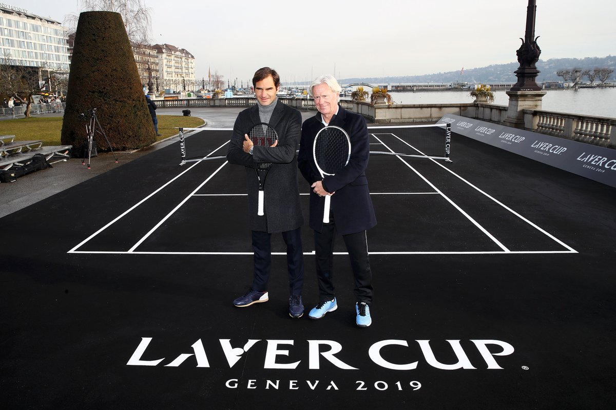 #LaverCup on the Lake. @rogerfederer and Bjorn Borg serve it up on the banks of Lake Geneva.