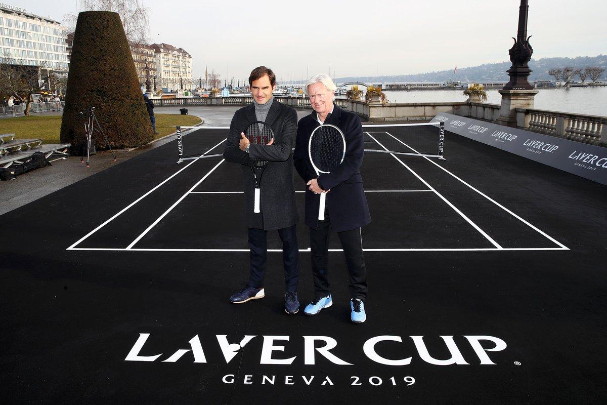#LaverCup on the Lake.  @rogerfederer and Bjorn Borg serve it up on the banks of Lake Geneva. <br>http://pic.twitter.com/gkEBPei8TA