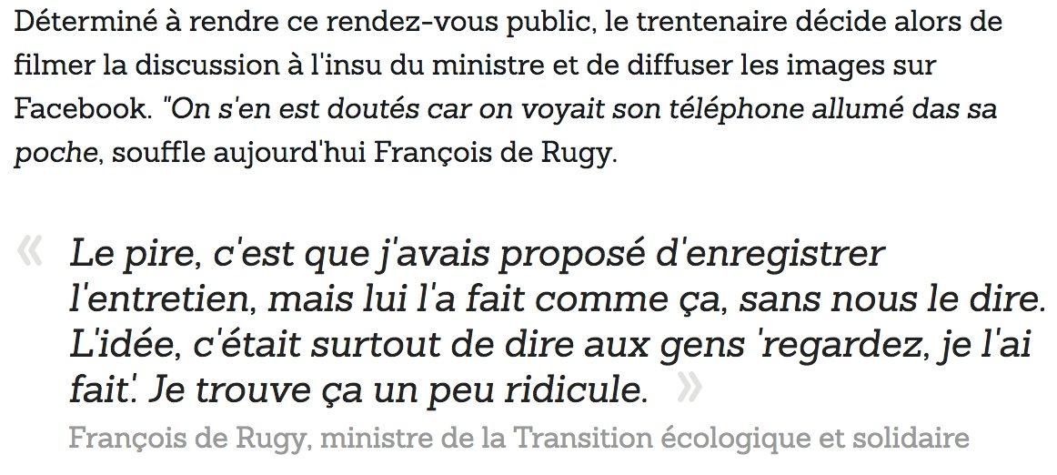 #GiletsJaunes On se rappelle comment, le 28 novembre, Eric Drouet a filmé en douce son rendez-vous avec François de Rugy. Le ministre revient sur cet épisode (et il l'a encore mauvaise)