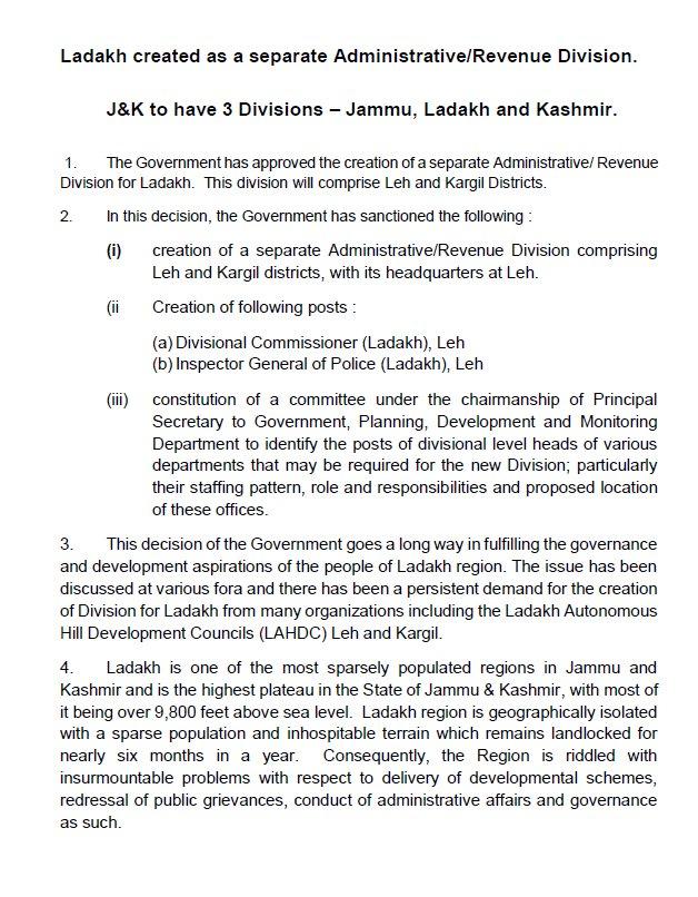 JK Govt orders creation of separate Ladakh Division