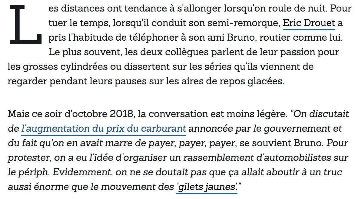 Je vous raconte notamment comment la mobilisation des #GiletsJaunes est née d'une discussion anodine entre Eric Drouet et Bruno, son ami routier.