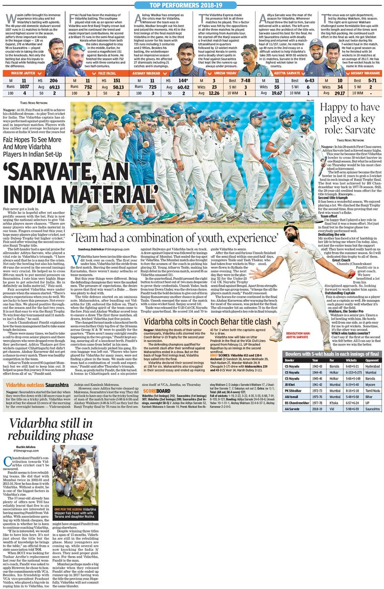 @TOI_Nagpur's final day coverage of Vidarbha's Ranji Trophy final against Saurashtra. @SunilWarrier1 @SuhasNayseTOI @PratiksTOI @AmitSampatTOI @sandeepdTOI @RanjitVDeshmukh @abhishekcTOI