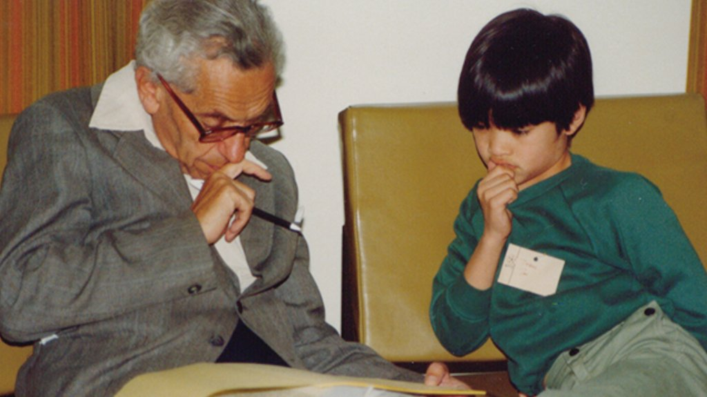 Paul Erdös loved to teach epsilons, his word for small children. Here he is with a 10 year old Terence Tao.