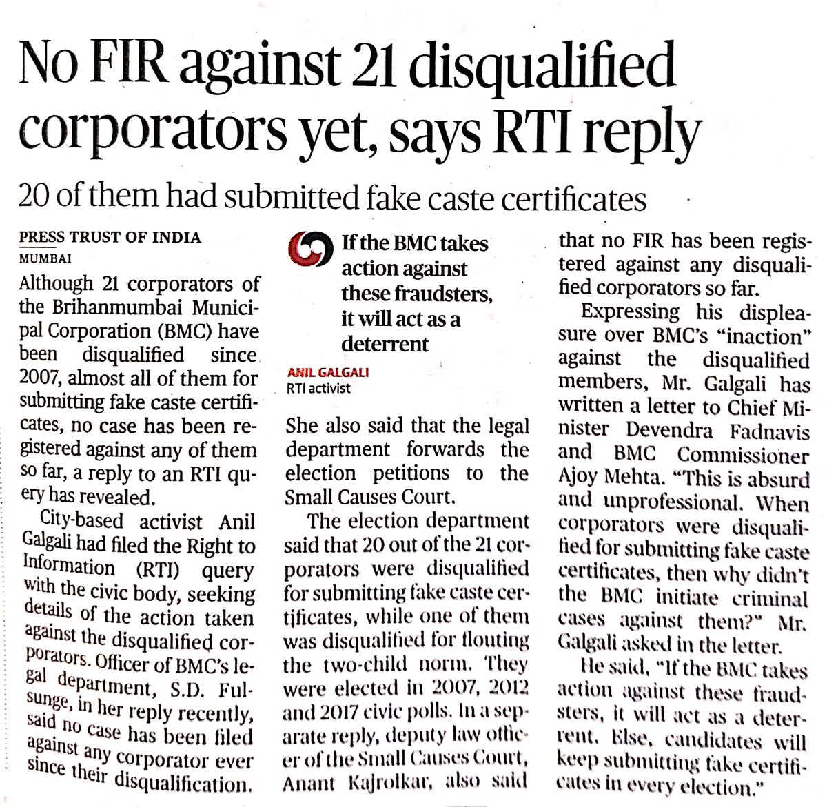 The Hindu- No FIR against 21 disqualified corporators yetm