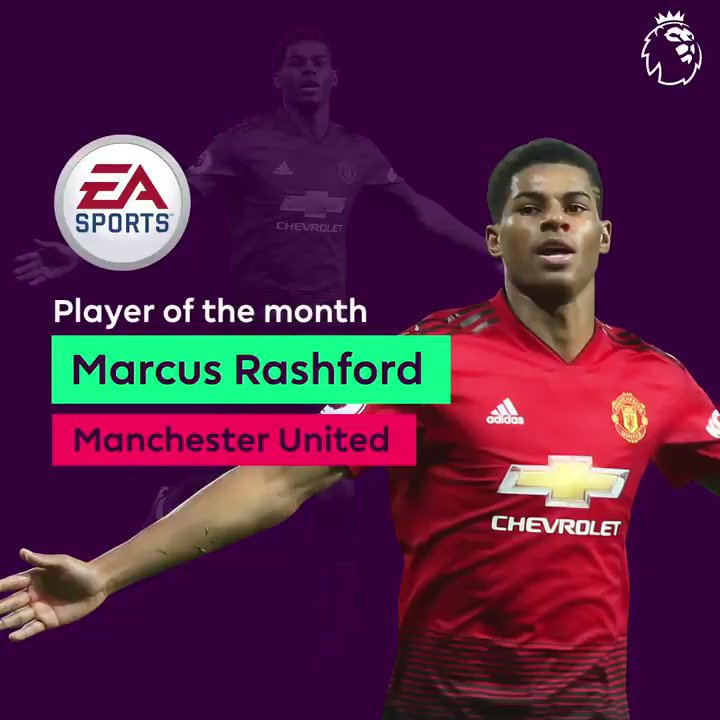 Congratulations, @MarcusRashford! 👏👏  The @EASPORTSFIFA Player of the Month for January  #PLAwards