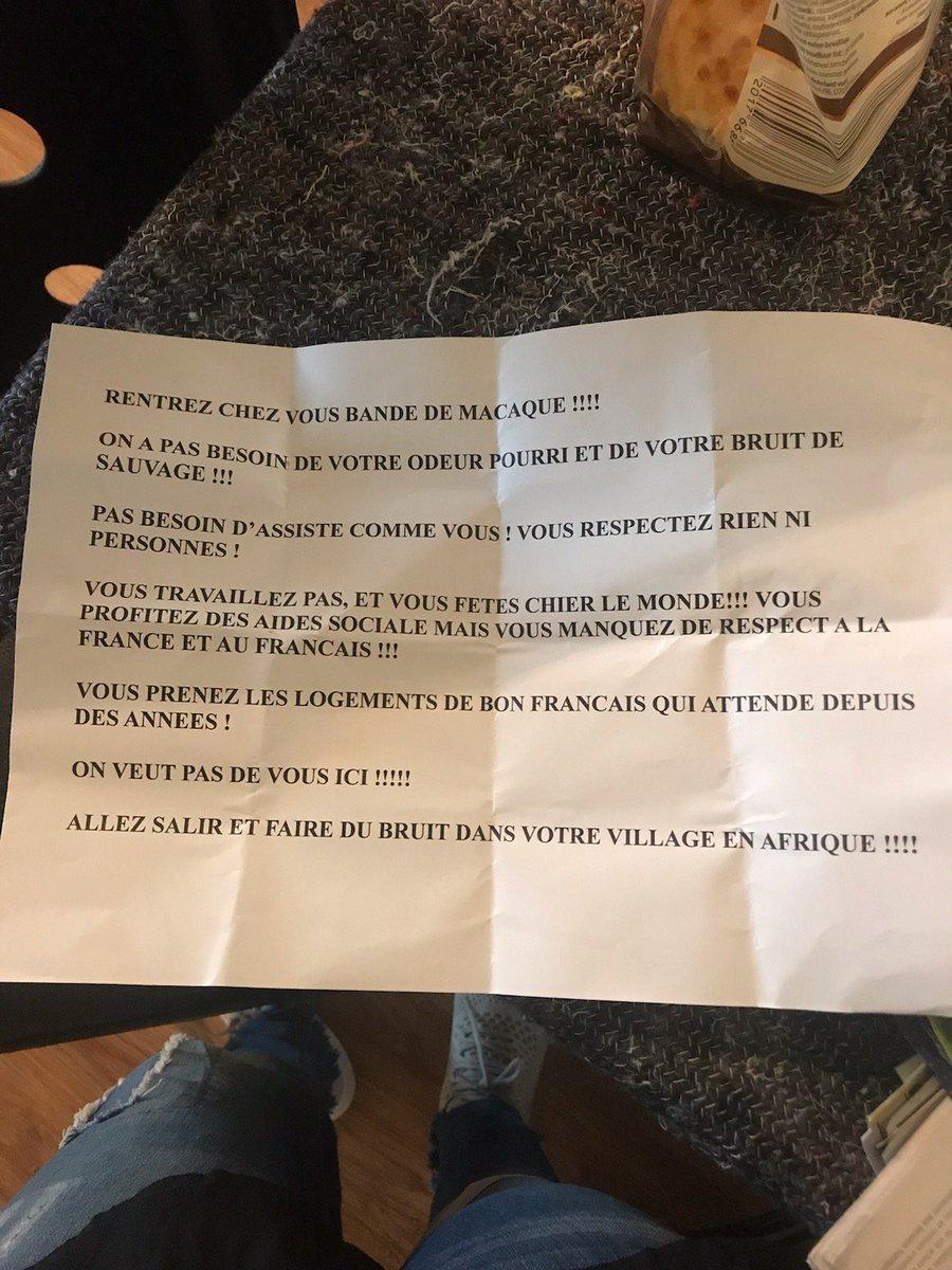 #racisme nous en sommes la aujourd'hui je recois dans ma boite aux Lettres ceci. Pas de place pour ces personnes qui propagent la haine et la diffusion ce n est pas ca la #France partagez ceci
