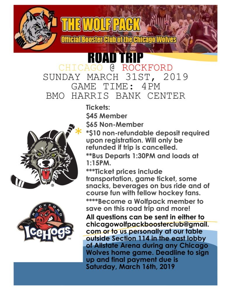 As our 25th anniversary as a booster club continues. #TheWolfPack, Chicago Wolves Booster Club has another road trip this season on March 31st as the @Chicago_Wolves face the @goicehogs. All the information is on the flyer below 👇.