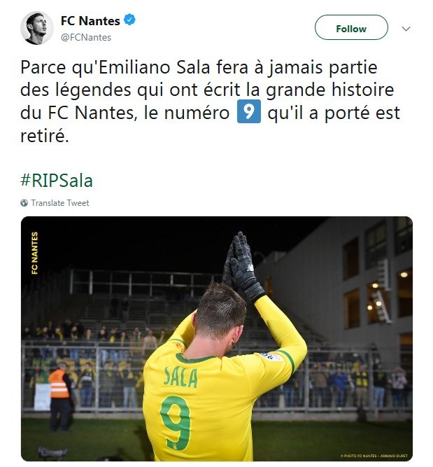 """FC Nantes have retired Emiliano Sala's number 9 shirt  """"Because Emiliano Sala will always be one of the legends that have written the great story of FC Nantes"""" ❤🙏"""