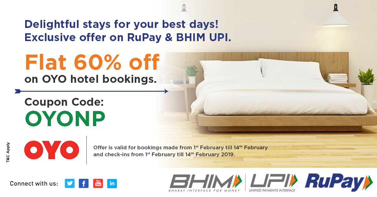 Celebrate this year's Valentine's Day by checking in to the best of @oyorooms and pay using BHIM UPI or RuPay to get this offer.  Know more - http://bit.ly/OYOValentines  #HighOnUPI #UPIOffers #ValentinesDay #BHIMUPI #BHIM  #UPI