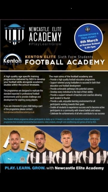 News! Kenton Elite Academy for promising footballers aged 16-18, trials at Kenton School on Wednesday 6th March 2019 5.20pm. A chance to gain academic qualifications and replicate a professional training programme! @PaulDummett @dwightgayle @the_dilsh @NEliteAcademy