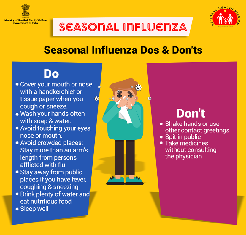 Take all precautionary measures to control #SeasonalFlu infection and avoid further health complications. #SwasthaBharat