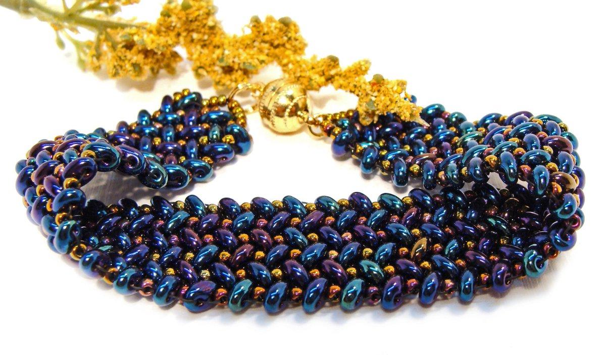Handmade Beaded Herringbone Bracelet with Metallic Blue, Teal and Purple Beads with Gold Accents  #giftsforher #bluebracelet #duobracelet  https:// etsy.me/2DpacMq  &nbsp;   via @Etsy #handmadejewelry #blue #teal #purple #beadedbracelet #magneticclasp #etsyhandmade #etsyjewelry #giftsforher<br>http://pic.twitter.com/2DA8yimoJu