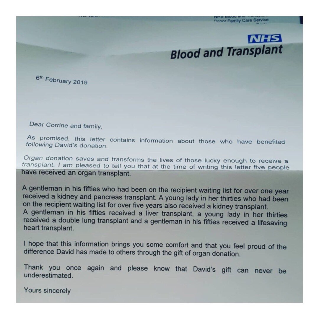 This letter was sent to my cousin David's fiancée after he passed away last month. He was 28. He was on the Organ Donor Register which resulted in him giving the most amazing gift to so many people in his passing. Join the Organ Donor Register ❤️ #amazing #organdonation #life