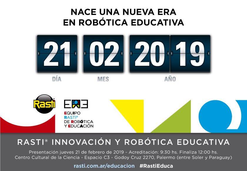 El 21/2 nace una nueva era en #Robótica #Educativa. Te esperamos para presentarte los kits tecnológicos de @RastiArg en el C3 : Centro Cultural de la Ciencia. https://www.eventbrite.com.ar/e/rasti-innovacion-y-robotica-educativa-registration-55637844290?utm-medium=discovery&utm-campaign=social&utm-content=attendeeshare&aff=estw&utm-source=tw&utm-term=listing…