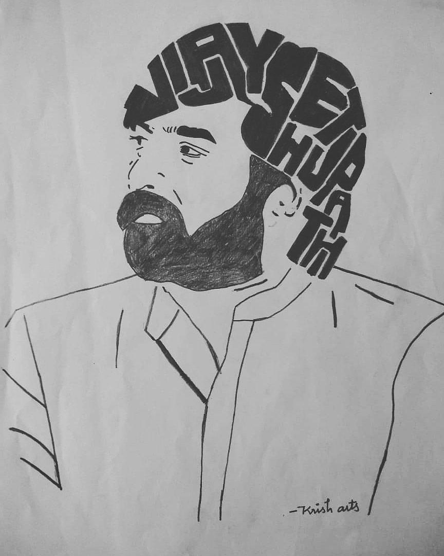Krish arts on twitter name art krish arts pencil sketch vijaysethuoffl மக்கள் செல்வ