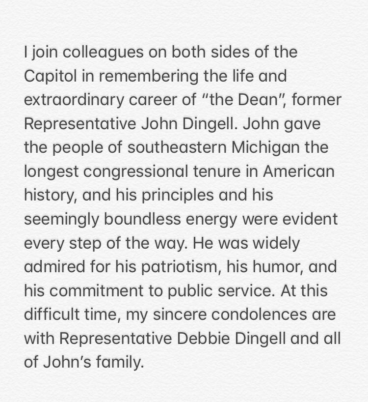 My statement on the passing of John Dingell