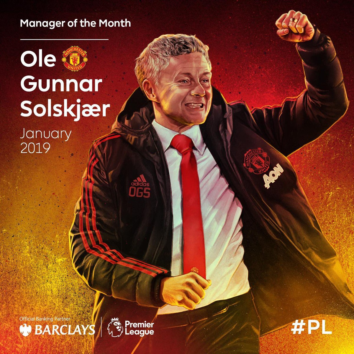Ole Gunnar Solskjaer wins Barclays Premier League Manager of the Month for January! He is the first Manchester United manager to do so since Sir Alex Ferguson 🔴