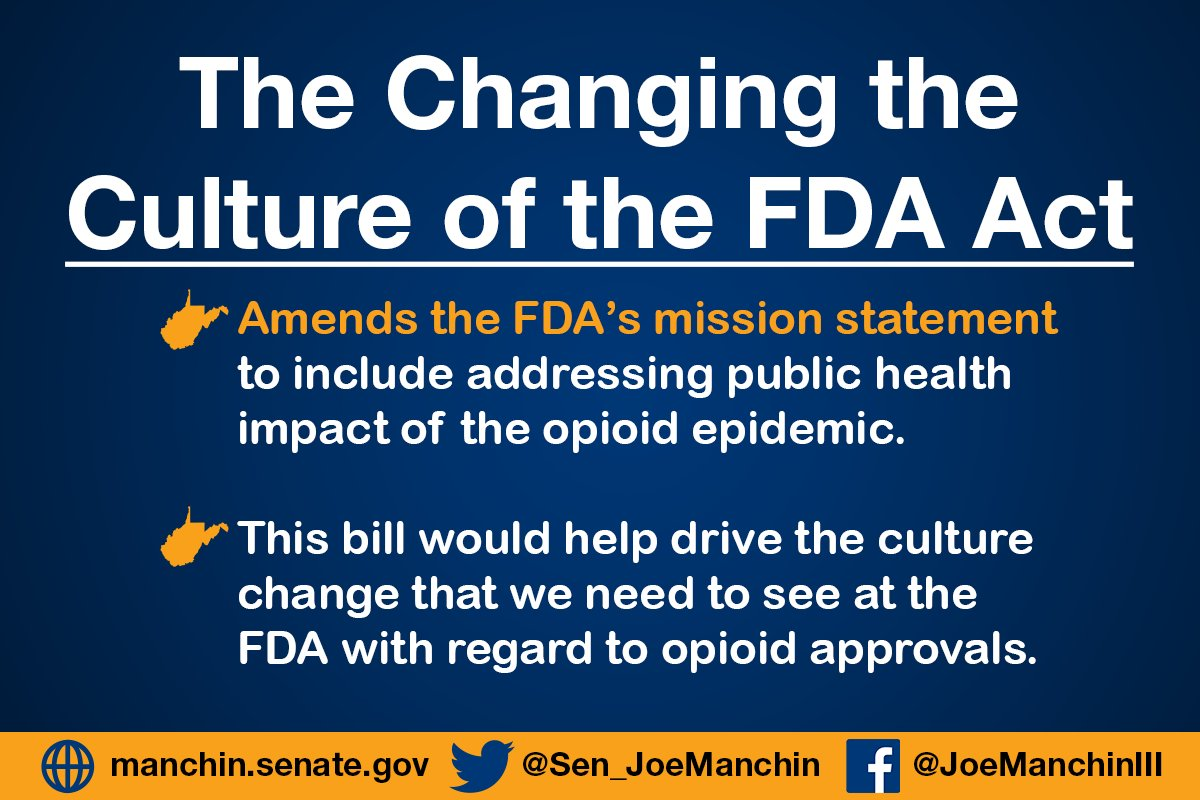 The Devastating Health Impact Of >> Senator Joe Manchin On Twitter The Changing The Culture Of The Fda