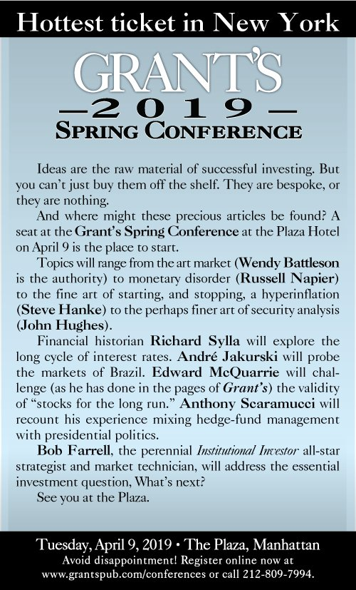 The hottest ticket in New York. Grant's Spring 2019 Conference