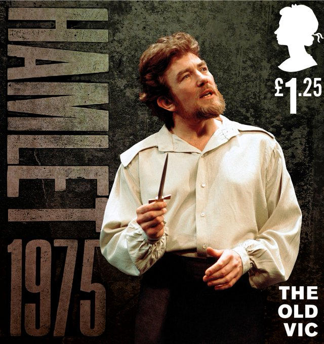 Albert Finney performing in the role of Hamlet from the 1975 production on The Old Vic's bicentenary stamp.