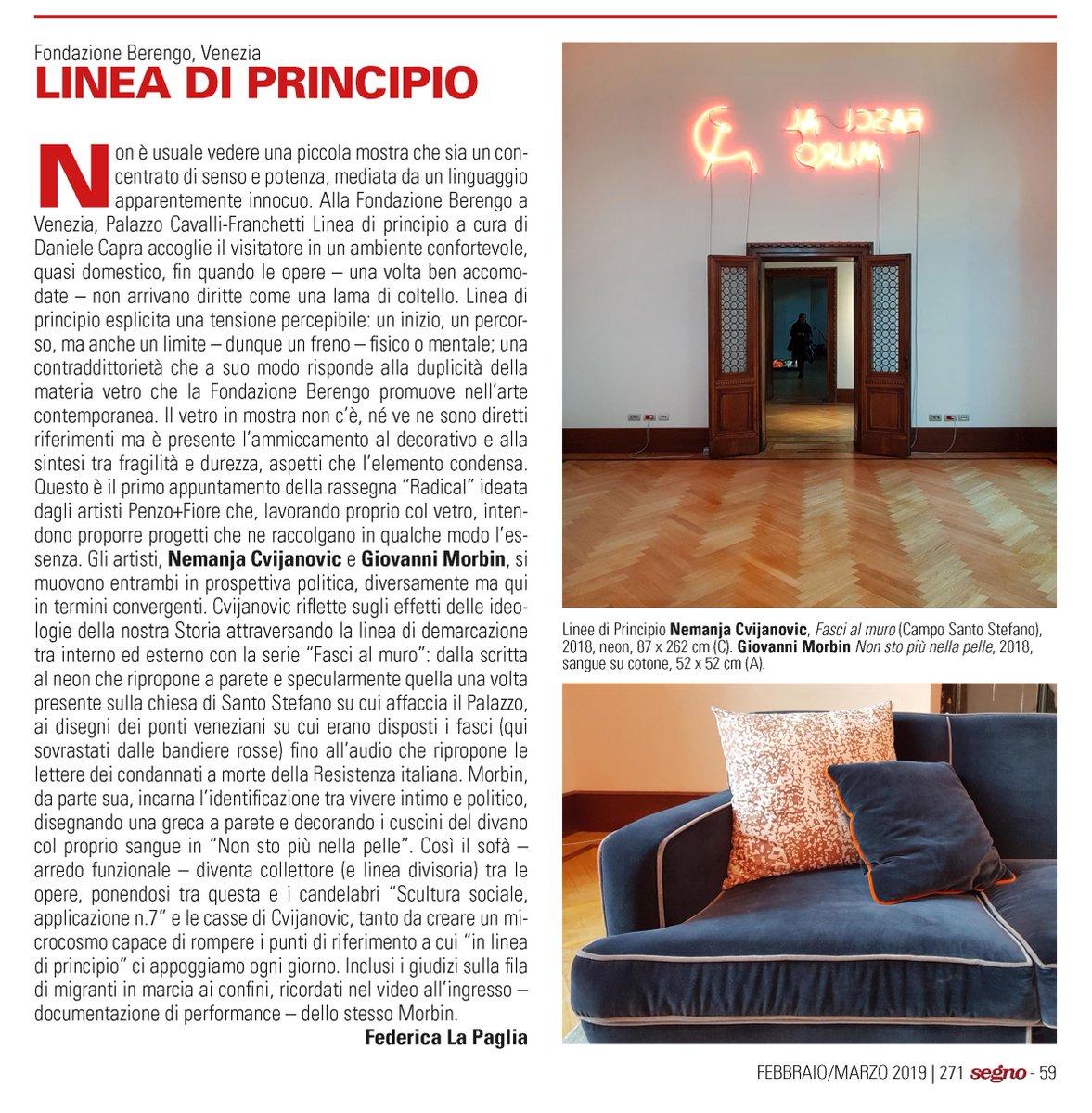 Grazie a @FedeLaPaglia e @rivistasegno per la recensione della mostra #LineaDiPrincipio con opere di #NemanjaCvijanovic e #GiovanniMorbin che ho curato per la @FondBerengo a Venezia. #ArteContemporanea #curatore