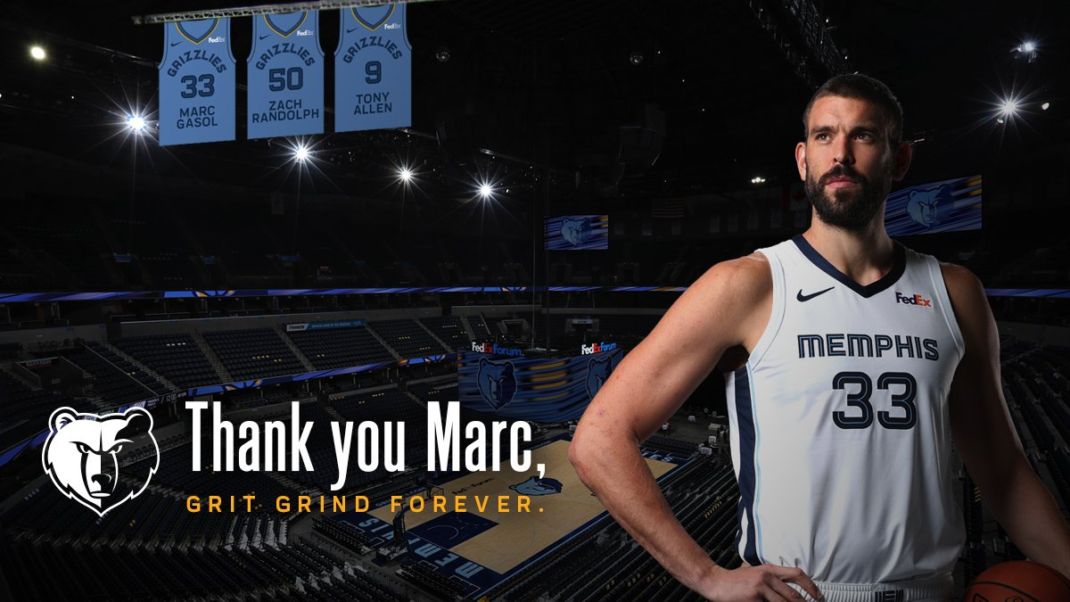 """The impact @MarcGasol has had on this team and the city will live on, and we look forward to one day welcoming him back home to Memphis where his #33 jersey will hang in the rafters of FedExForum next to Zach and Tony."" -Owner Robert Pera Full Statement: https://on.nba.com/2tccABl"