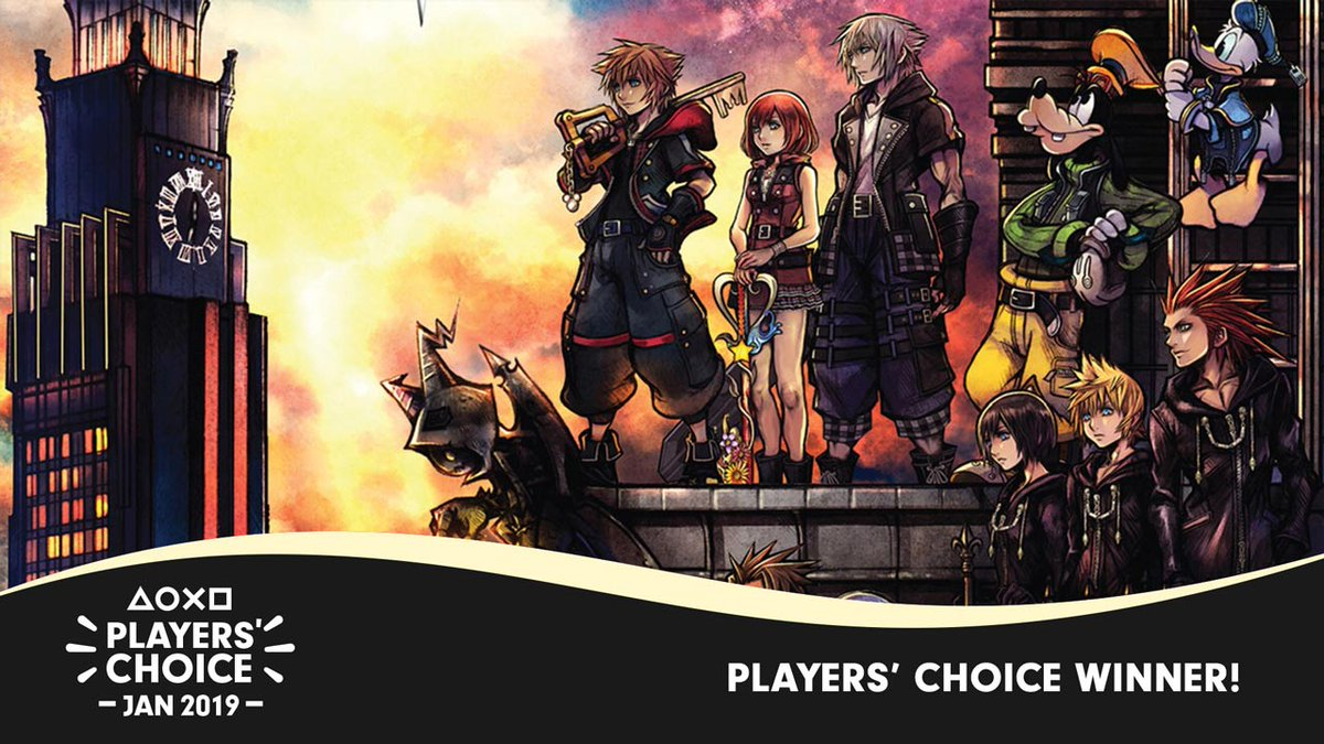 The results are in! Kingdom Hearts III edged past Resident Evil 2 to win January's fiercely competitive Players' Choice poll:  https://t.co/85qTL1VZcF