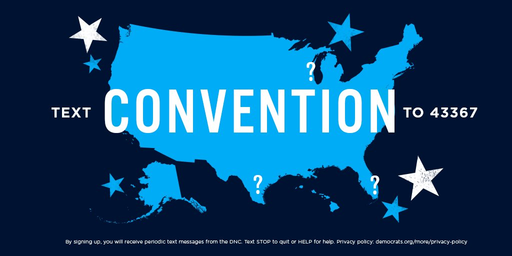 We'll be announcing the host city for the 2020 Democratic National Convention very soon. Do *you* want to be one of the first people to get all the info?  Text CONVENTION to 43367 and we'll text you when we announce the location. 👏