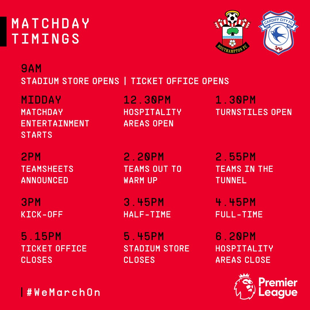 ⏰  Consult the key timings ahead of #SaintsFC's meeting with #CardiffCity at St Mary's: