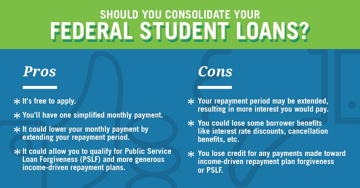 pros and cons of consolidating federal student loans
