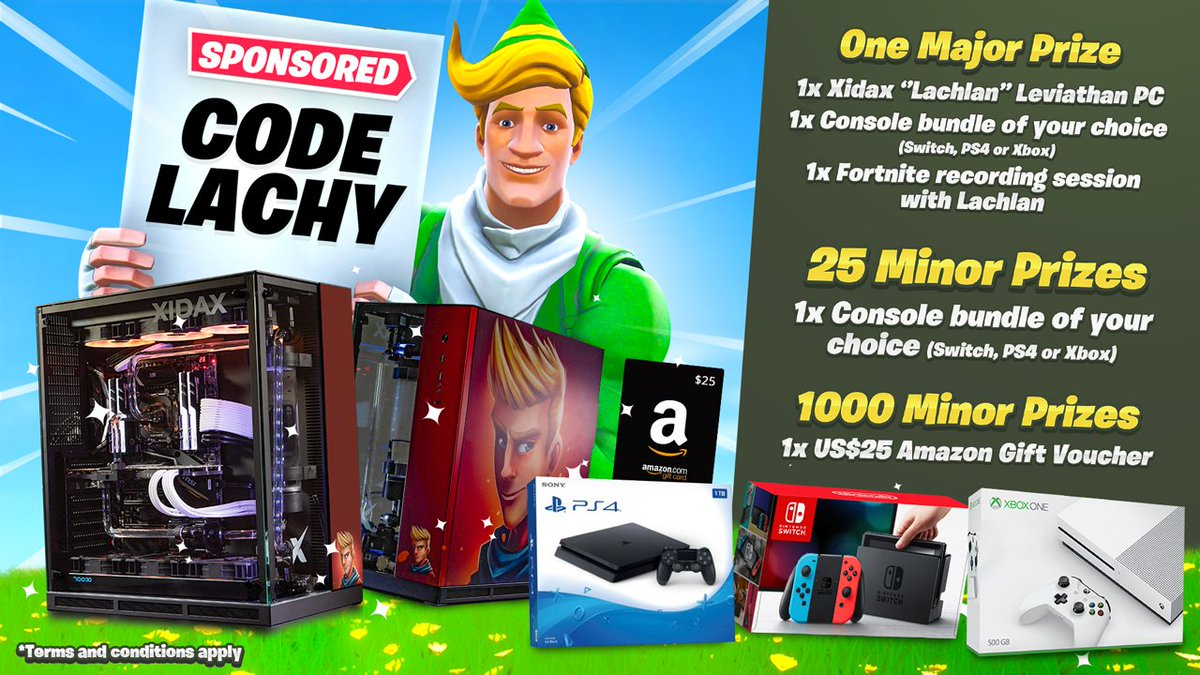 """Annoucing my biggest giveaway yet sponsored by supporters using code """"Lachy"""" in the Fortnite store! Prizes include:  - Youtube PC Setup + Fortnite recording session  - 25 x Consoles of choice  - 1000 x 25$ Amazon gift cards (2800 vbucks)   Enter here: https://gleam.io/L9xbX/lachlans-support-a-creator-giveaway…"""