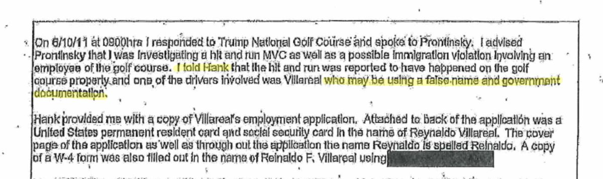 .@realDonaldTrumps biz has indicated they didnt know they had illegal workers until late last yr. But in 2011, a Bedminster cop working a hit-and-run found a Trump worker using a fake name & papers. He told the clubs head of security. 7 yrs ago. washingtonpost.com/politics/my-wh…
