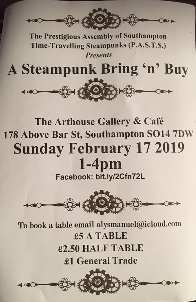 #Event Awesome of the Day: #Steampunk ⚙️ Bring'n Buy #Cosplay 🎩 at @TheArtHouseCafe Feat @BeatnikEmporium @sotonscrapstore @prof_elemental (Sun 17th Feb 2019, 1-4pm) in #Southampton #UK 🇬🇧 via @Ziggargh #SamaEvent 📅 #SamaCosplay