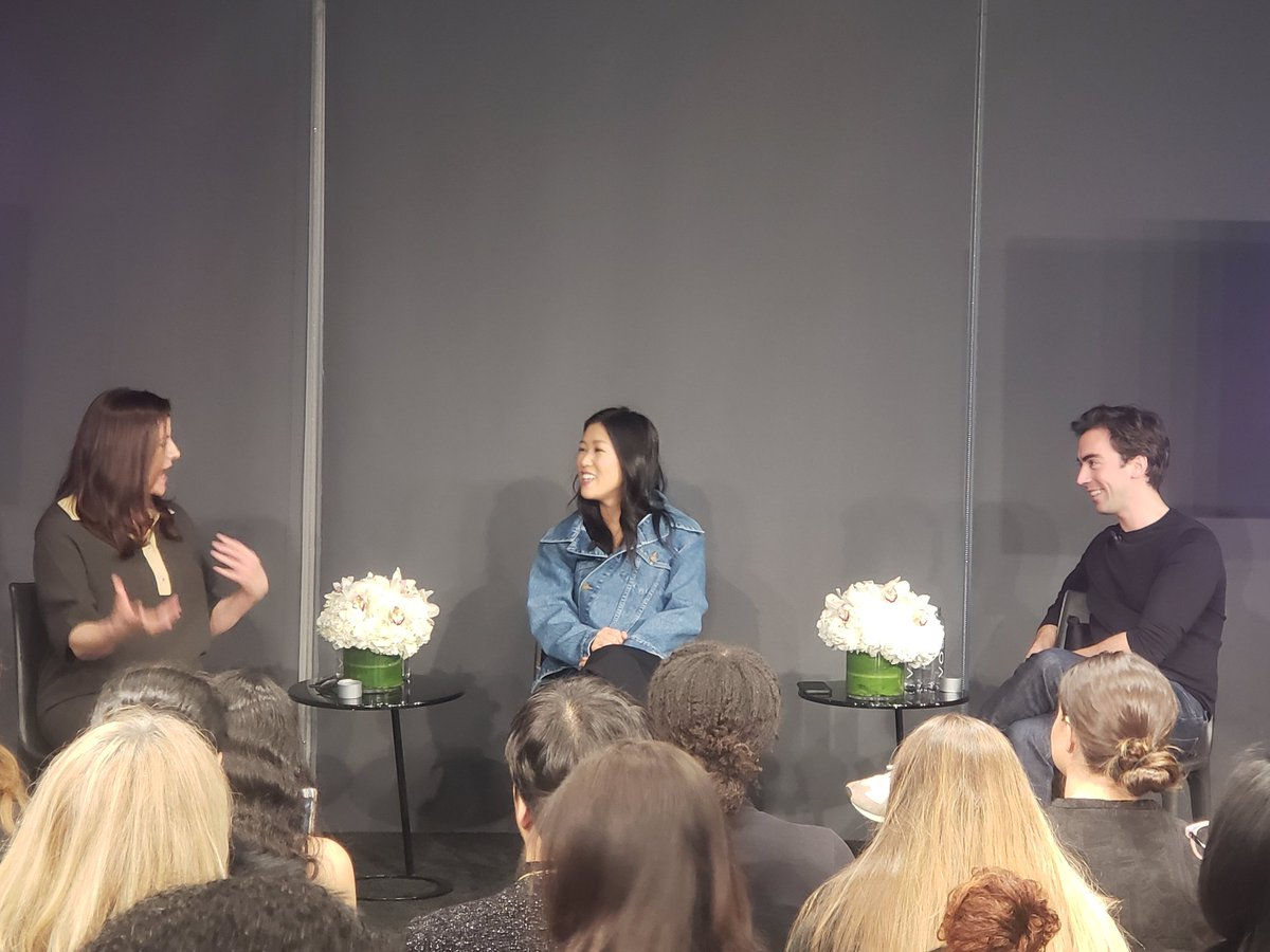 39bae38f0b63 and monse designers laura kim and fernando garcia are on the stage with wwd  s bridget