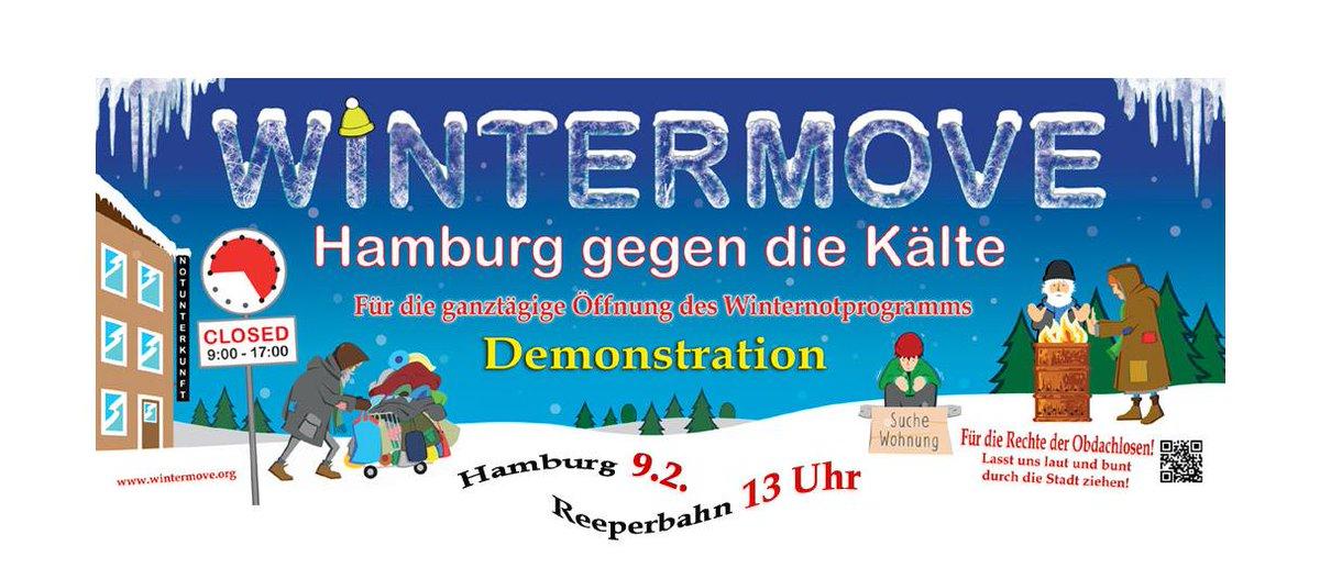 Solidarität mit Obdachlosen zeigen: auf zum #Wintermove! Sonnabend, 13 h, Spielbudenplatz, St. Pauli https://www.facebook.com/events/2256720874609166/…