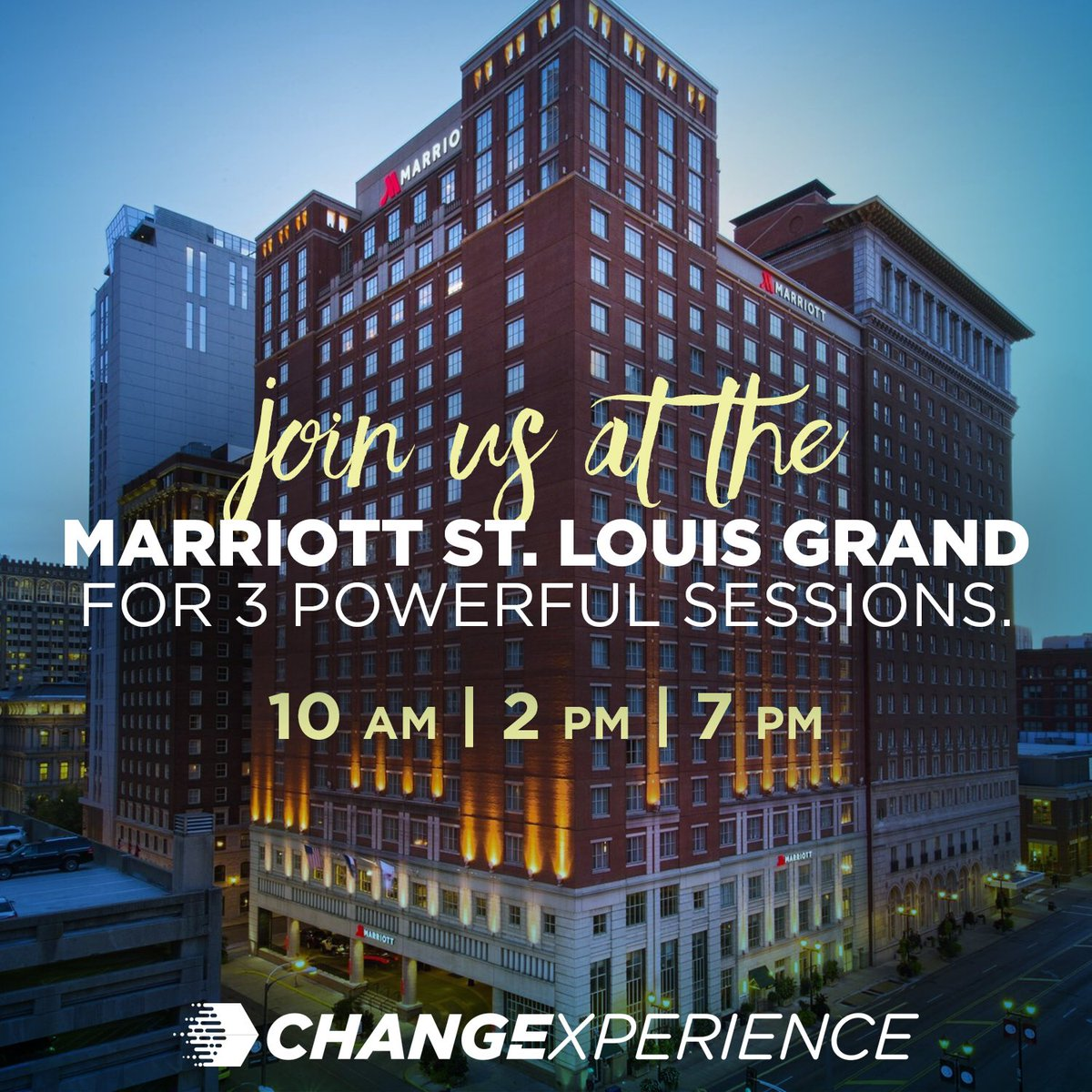 Change Experience 2019 St.Louis is happening RIGHT NOW! We're at the Marriott St. Louis Grand, 10am, 2pm, and 7pm. All sessions are FREE. Text ChangeStLouis to 51555 or click here …https://changeexperience2019stlouis.eventbrite.com   #ChangeExperience #WorldChangers          #WorldChangersChurchInternational