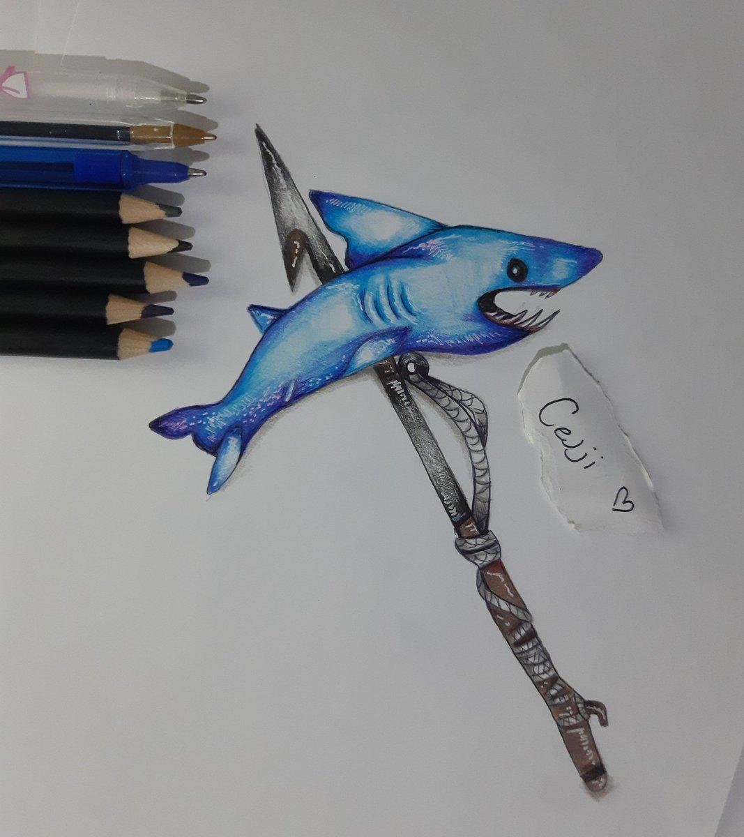 chomp jr pickaxe drawing fortnitegame fortnite fortnitefanart fortnitesketch - shark pickaxe fortnite