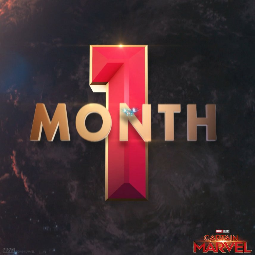One month until Marvel Studios' #CaptainMarvel. See the film in theaters March 8. Get tickets now: http://www.Fandango.com/CaptainMarvel