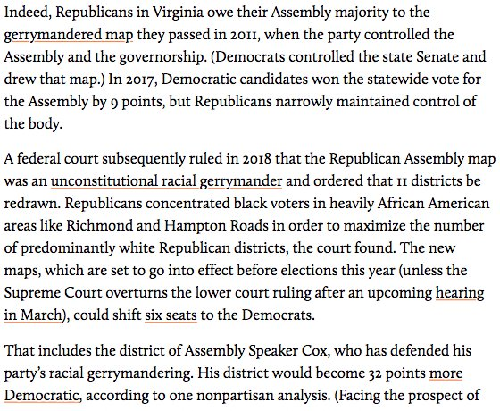 Virginia GOP House speaker Kirk Cox, who could become gov if top 3 Dems resign, defended unconstitutional racial gerrymandering that diluted power of black voters https://www.motherjones.com/politics/2019/02/virginias-democratic-scandals-could-cost-the-party-control-of-state-politics-for-the-next-decade/…