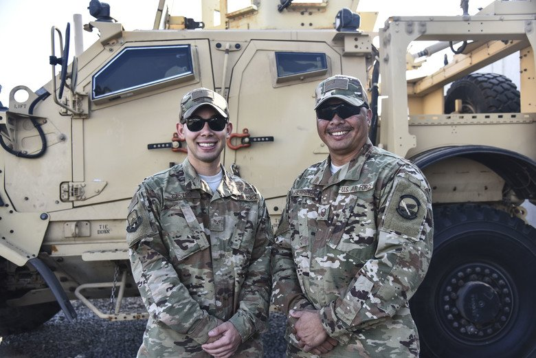 This #Fatherandson duo spent their first & last deployments together. #Family @USAFCENT https://www.afcent.af.mil/Units/380th-Air-Expeditionary-Wing/News/Display/Article/1751950/father-sons-first-and-last-deployment/…