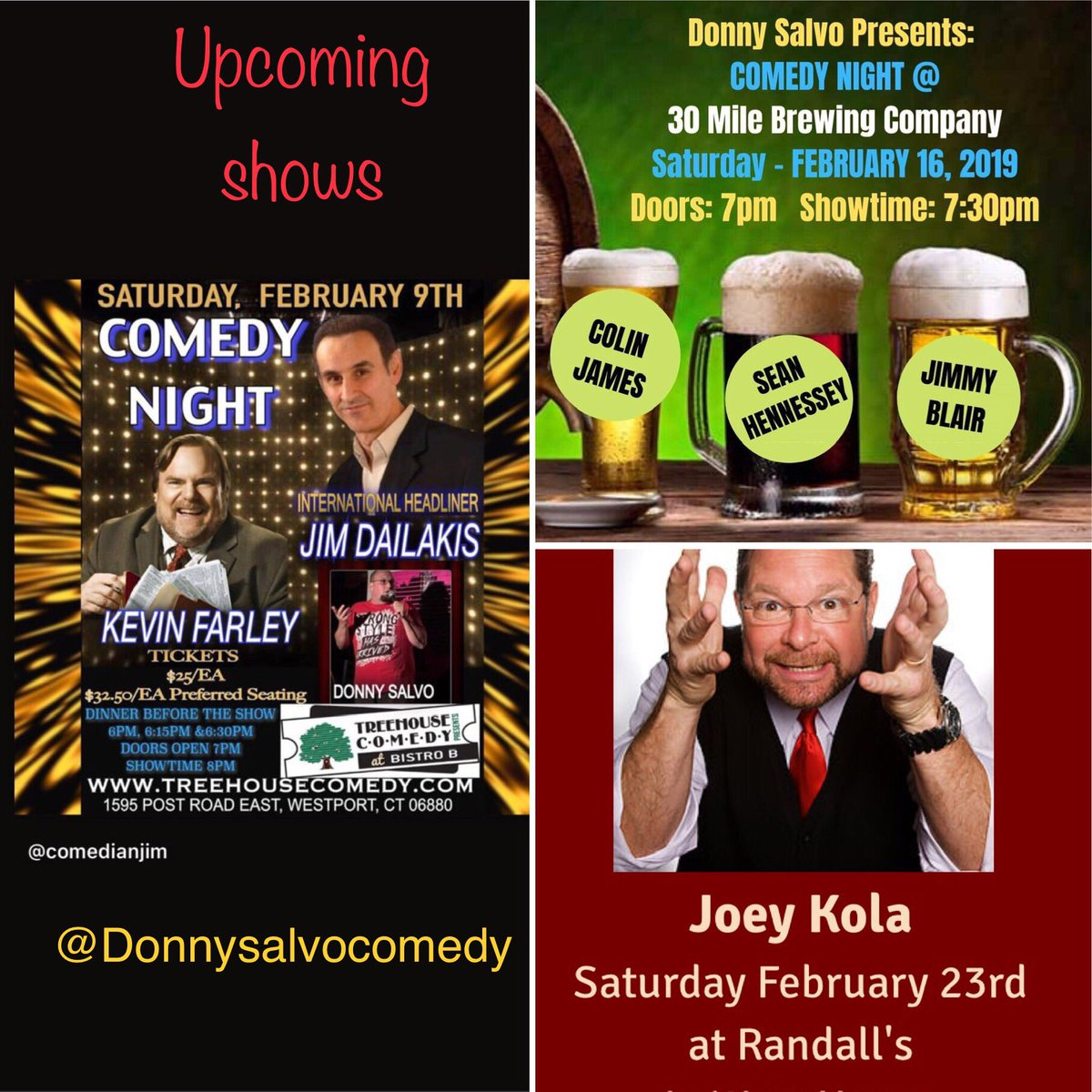 Upcoming shows!!!! @treehousecomedy @30MileBrewingCo #CTcomedy #Saturday #makethemlaugh #beer #laughter
