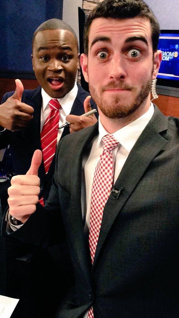 "Got a lot of ""NO!"" about the full beard...but how about a more tame version haha! This was the first year of my TV career in Great Falls, MT with my good friend and co-anchor @DaVonteMcKenith"