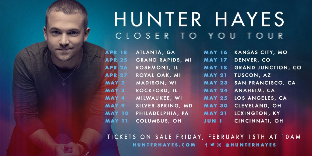 The #CloserToYourTour goes on sale on 2/15... However, if you sign up for my email list you will receive a pre-sale code so you can get tickets on 2/11! Sign up here:  https://t.co/xhDpEKc3Sc