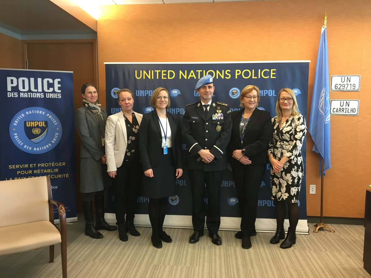 @RautioSari , director of Security Policy and Crisis Management Unit at@Ulkoministerio  and Police Adviser@LuisCarrilhoPC  concluded at their meeting that UN police plays important role in UN peacekeeping. Finland is a firm supporter of@UNPOL  and deploys Finns to 4@_UNMissions