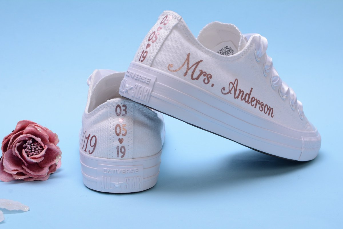 6833637c0914 ...  etsy shop  Personalised Rose Foil Converse Trainers For Bride