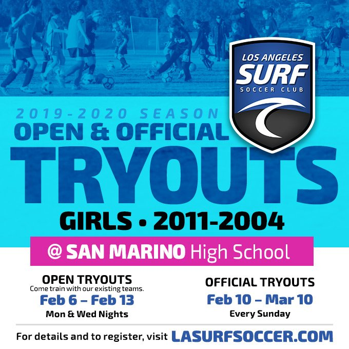 TRYOUTS   LA Surf  LA Surf will be holding Girls 2004-2011 Tryouts this Sunday,  Feb. 10 at San Marino High School - 3PM-7PM Visit our website to register and find the exact times for each age group. http://lasurfsoccer.com/tryouts #tryouts #soccertryouts #girlssoccer #pasadena