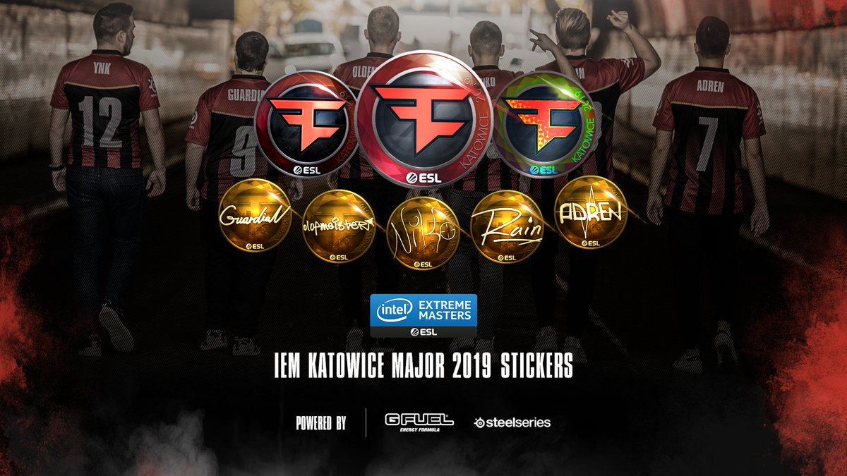 Our limited edition stickers for the upcoming $1,000,000 Katowice Major are now available in-game!   Don't miss your chance to add one to the collection. #FaZeUp