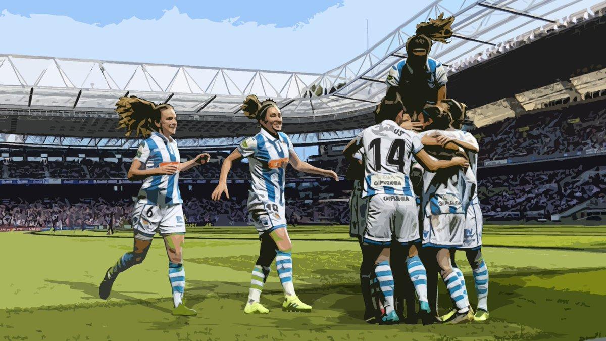 Las jugadoras, celebrando un gol (Foto: Real Sociedad).