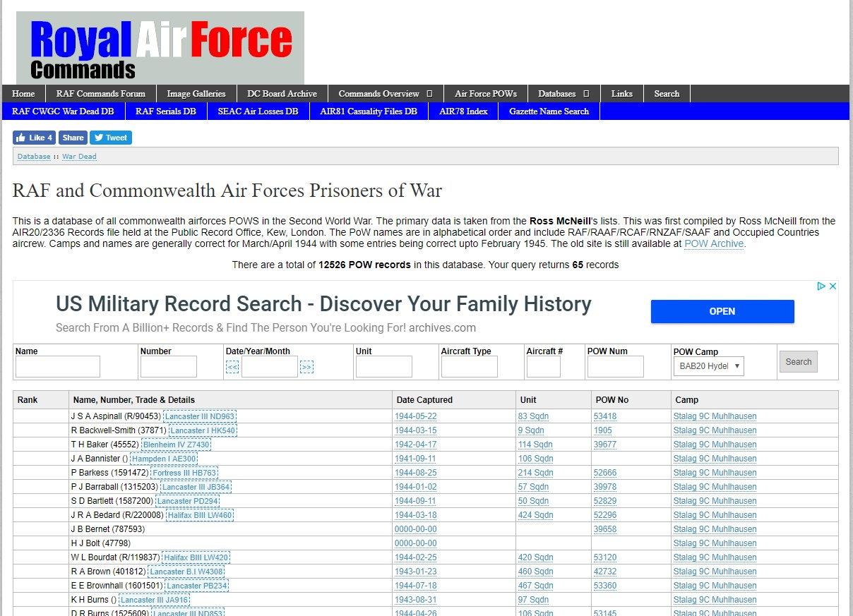 Ross's Air Force POW List - now a DB